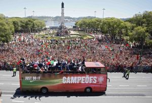 Portugal EURO  team ride in open bus on their return to Lisbon