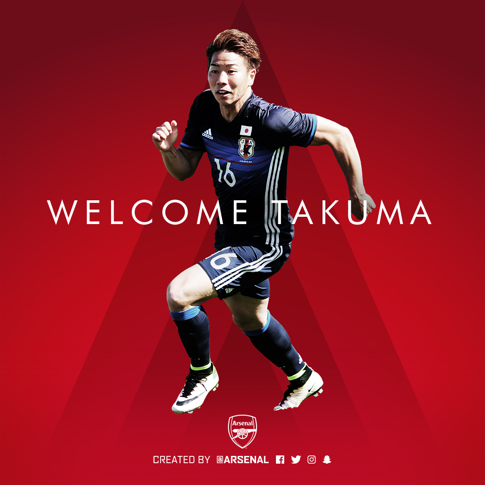 The Gunners Welcome Takuma Asano To Club. (Picture Courtesy: www.arsenal.com)