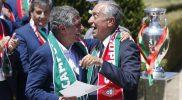 portugal coach Fernando Santos, left, is greeted by the president Marcelo Rebelo de Sousa