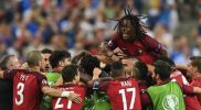 portugal wins euro 2016, renato sanchez jumps on his teammates
