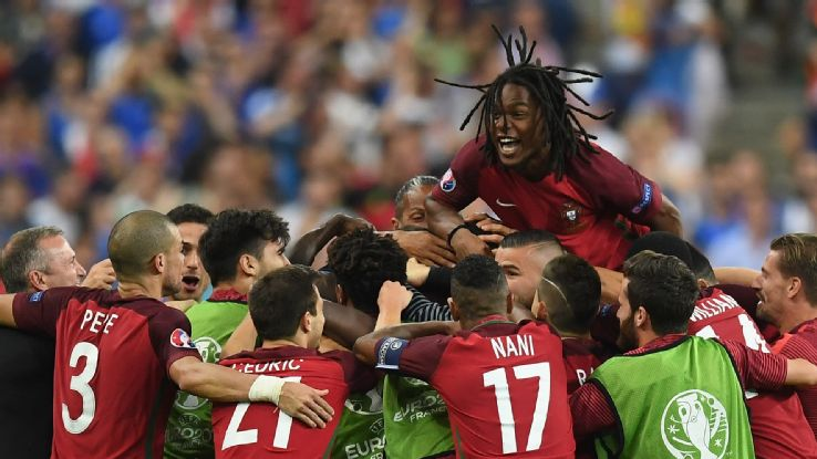 portugal wins euro  renato sanchez jumps on his teammates