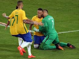 Neymar and his teammates cry after winning Olympic Gold