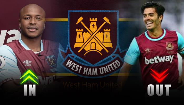 West Ham United-Andre Ayew- james Tomkins