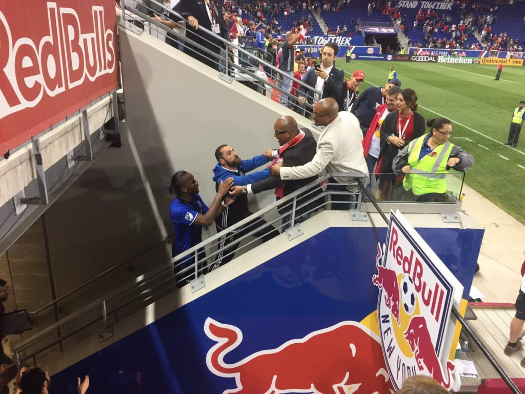 Didier Drogba seen in an altercation with New York Red Bulls fans. (Image courtesy: Twitter/@KlimbergCalcio
