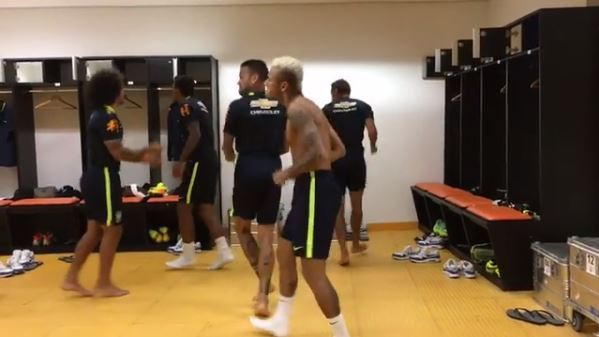 Neymar doing the running man with team mates