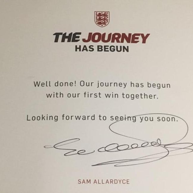 The postcard sent by Sam Allardyce to England players. (Image source: Twitter)
