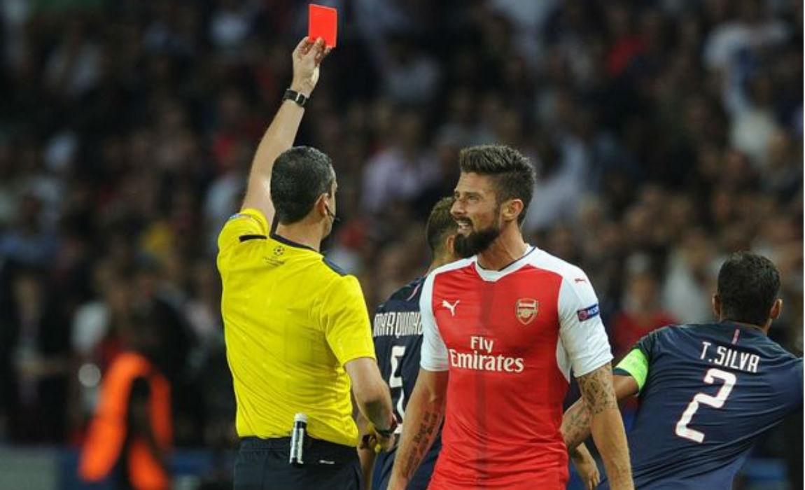 giroud-red-card