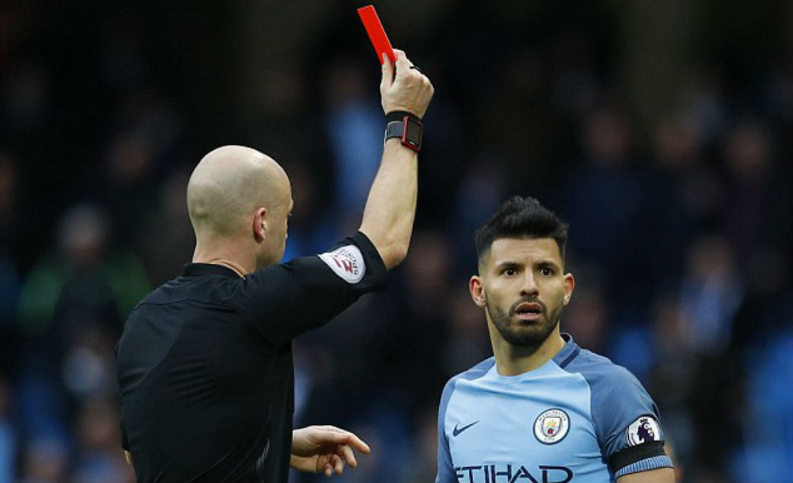 Aguero received a rightful red-card after making a frustrated challenge on David Luiz.