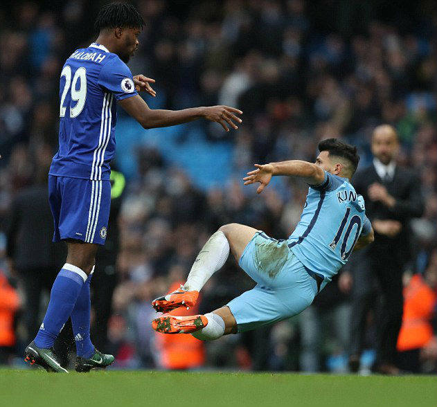 Nathaniel Chalobah stepped in to stand for his team-mate Luiz after Aguero's rash challenge.
