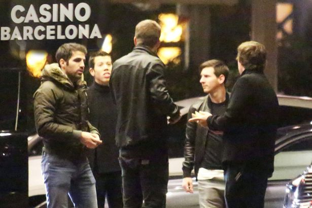 Lionel Messi was spotted with Cesc Fabregas at a casino in January.