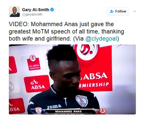 OOPS! Footballer Thanks Wife And Girlfriend In An Hilarious Slip Up During Post Match Interview