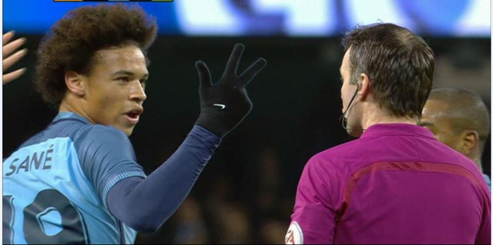 Sane Lucky To Escape Punishment After His Three Fingered Salute To The Referee In Man Citys FA Cup Win
