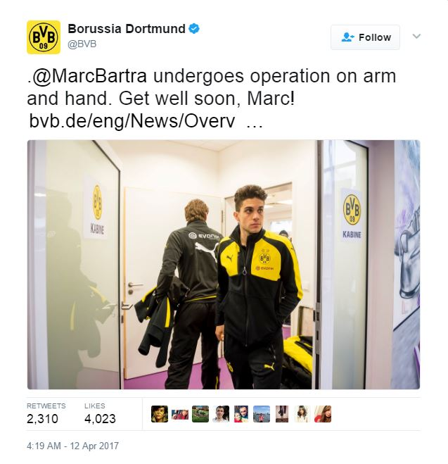 Marc Bartra Undergoes Surgery After Terror Attack On Borussia Dortmunds Team Bus