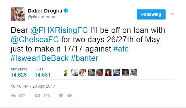 Didier Drogba Trolls Arsenal With Hilarious Tweet As Chelsea Legend Says He's Returning For FA Cup Final