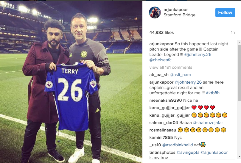 Bollywood Star Arjun Kapoors Fan Moment With Chelsea Legend John Terry
