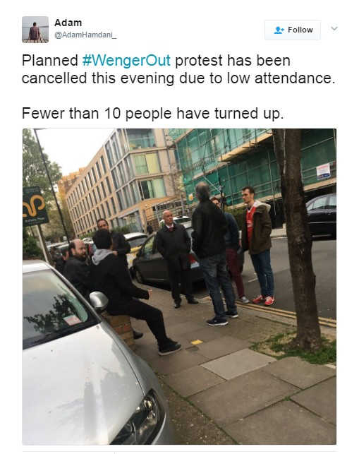 Wenger OUT Protest Called Off After Less Than TEN Arsenal Fans Turn Up