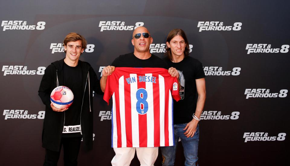 Atletico Madrid Stars Griezmann And Filipe Luis Hang Out With Charlize Theron And Vin Diesel