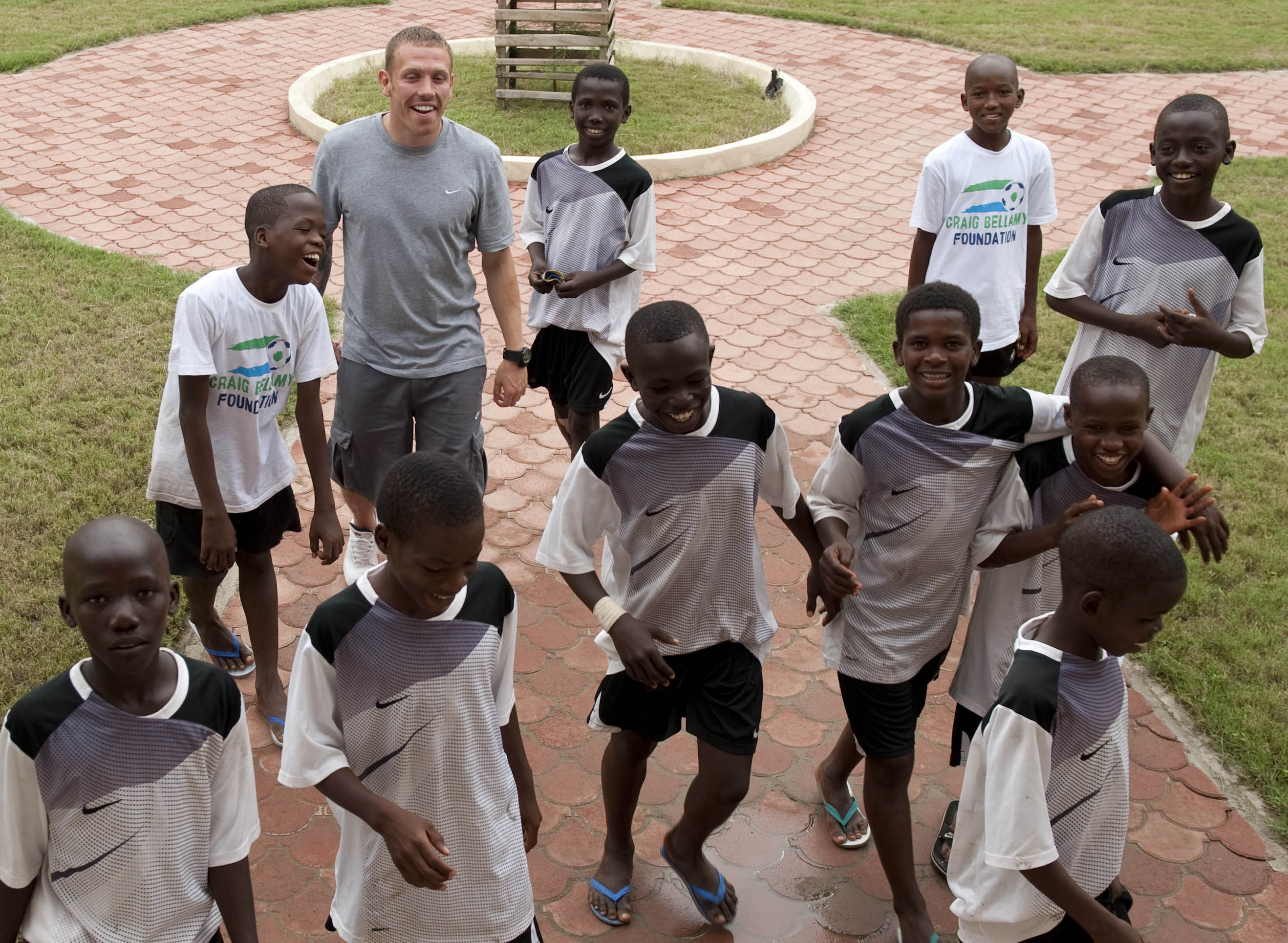 Craig Bellamy and the boys from his Sierra Leone foundation at the Right to Dream academy near Accra in Ghana, West Africa. (Photograph by