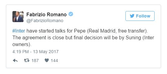 Madrid To Milan! Pepe Set To Join Serie A Giants On A Free Transfer