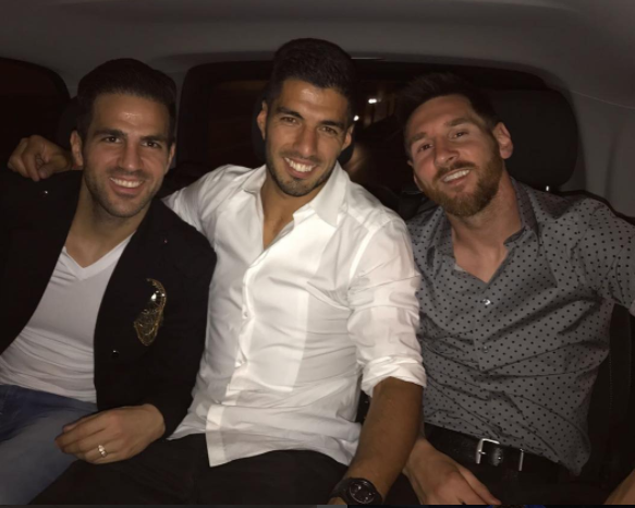 Chelsea Star Fabregas Joins Messi And Suarez In Barcelona With The GIRLS