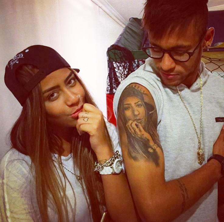 Barcelona Star Neymar Flaunts New Tattoo Of His Mothers Face While Celebrating Hat Trick