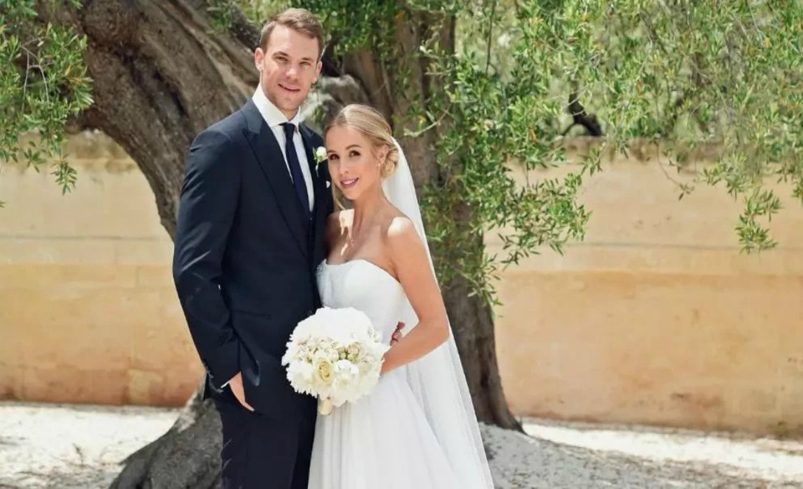 Image result for Bayern Munich Goalkeeper, Manuel Neuer Walks Down The Aisle With Crutches