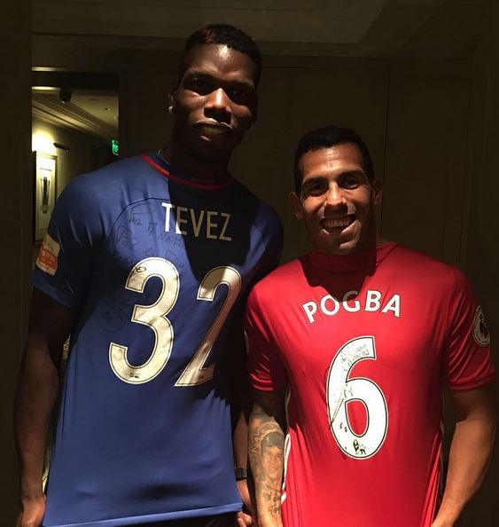 Pogba Meets Up Ex  Juventus Team Mate Tevez As He Continues His Tour Of China