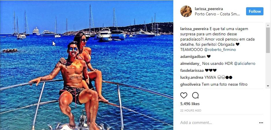Roberto Firmino And Wife Larissa Pereira In Raunchy Display On Yacht In Sardinia