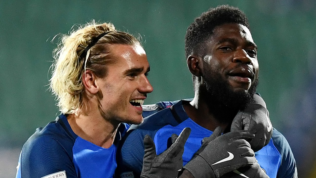 Image result for Samuel Umtiti with Antoine Griezmann