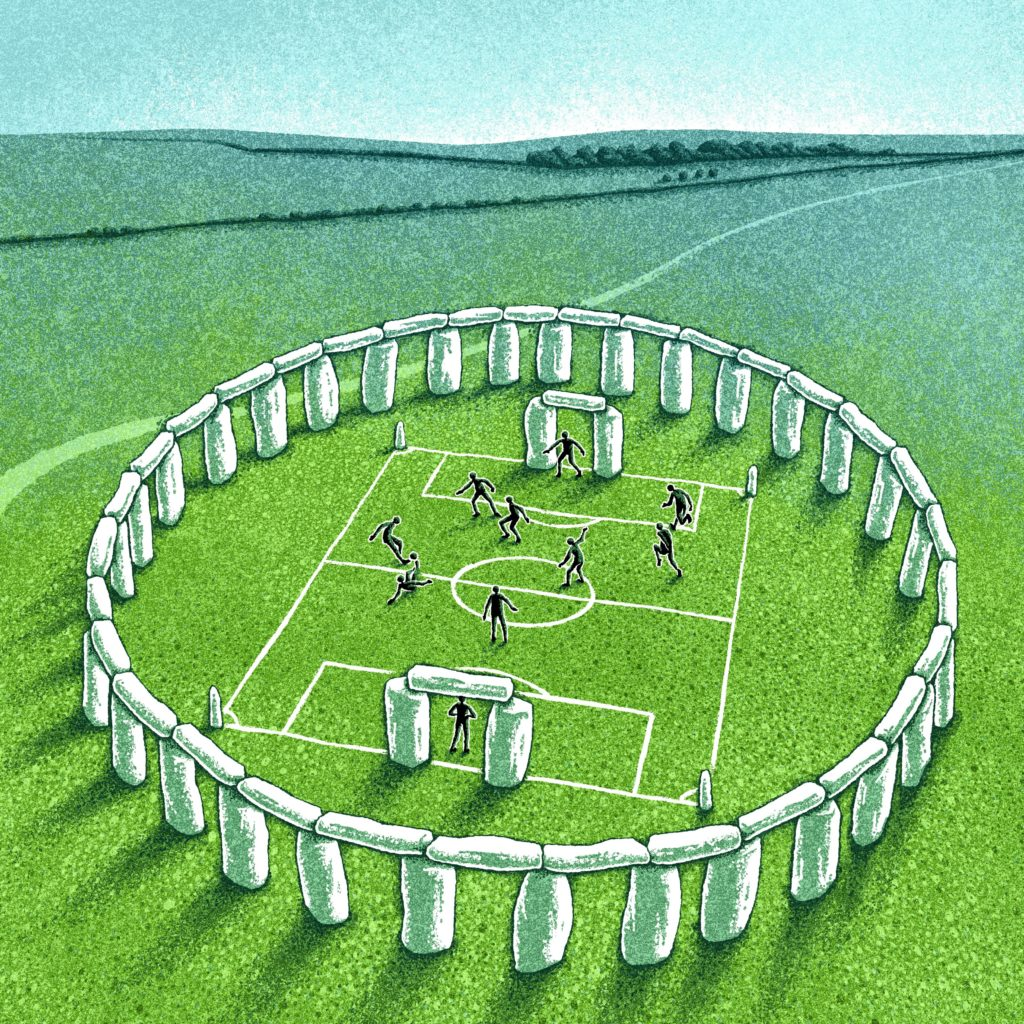 Stone-age football stadium illustration