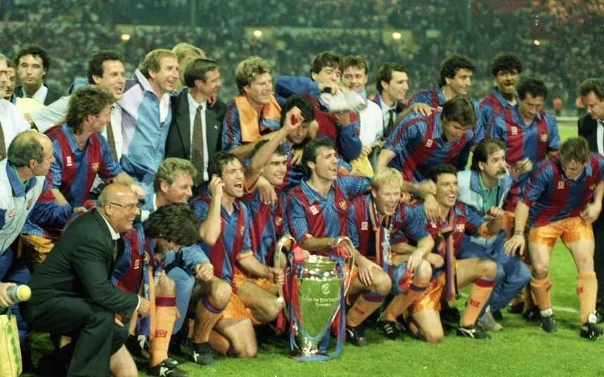 Barcelona's Dream Team celebrate their first European Cup under Johan Cryuff