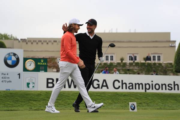 Pep Guardiola playing golf with pro golfer Tommy Fleetwood