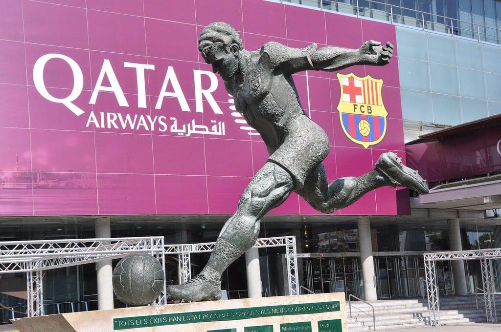 Statue of Barcelona legend Laszlo Kubala outside Camp Nou