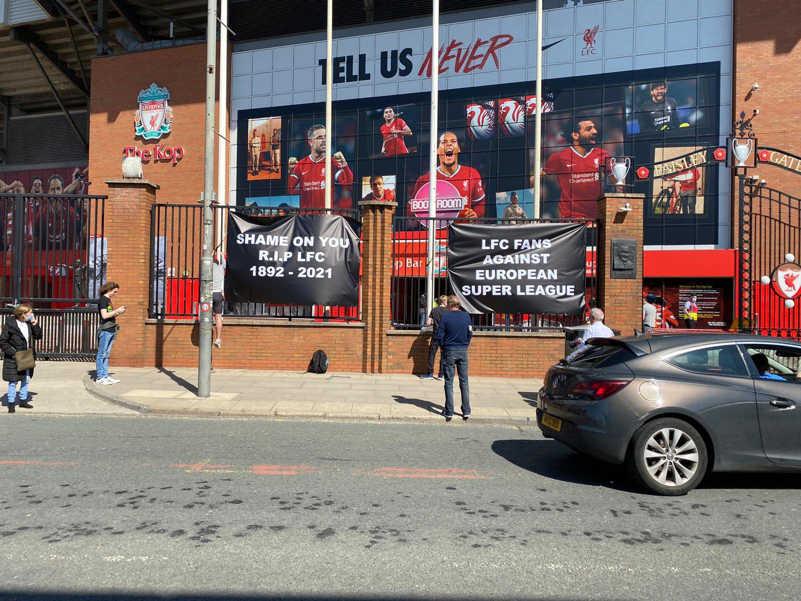 Liverpool fans protest the club's decision to join the European Super League