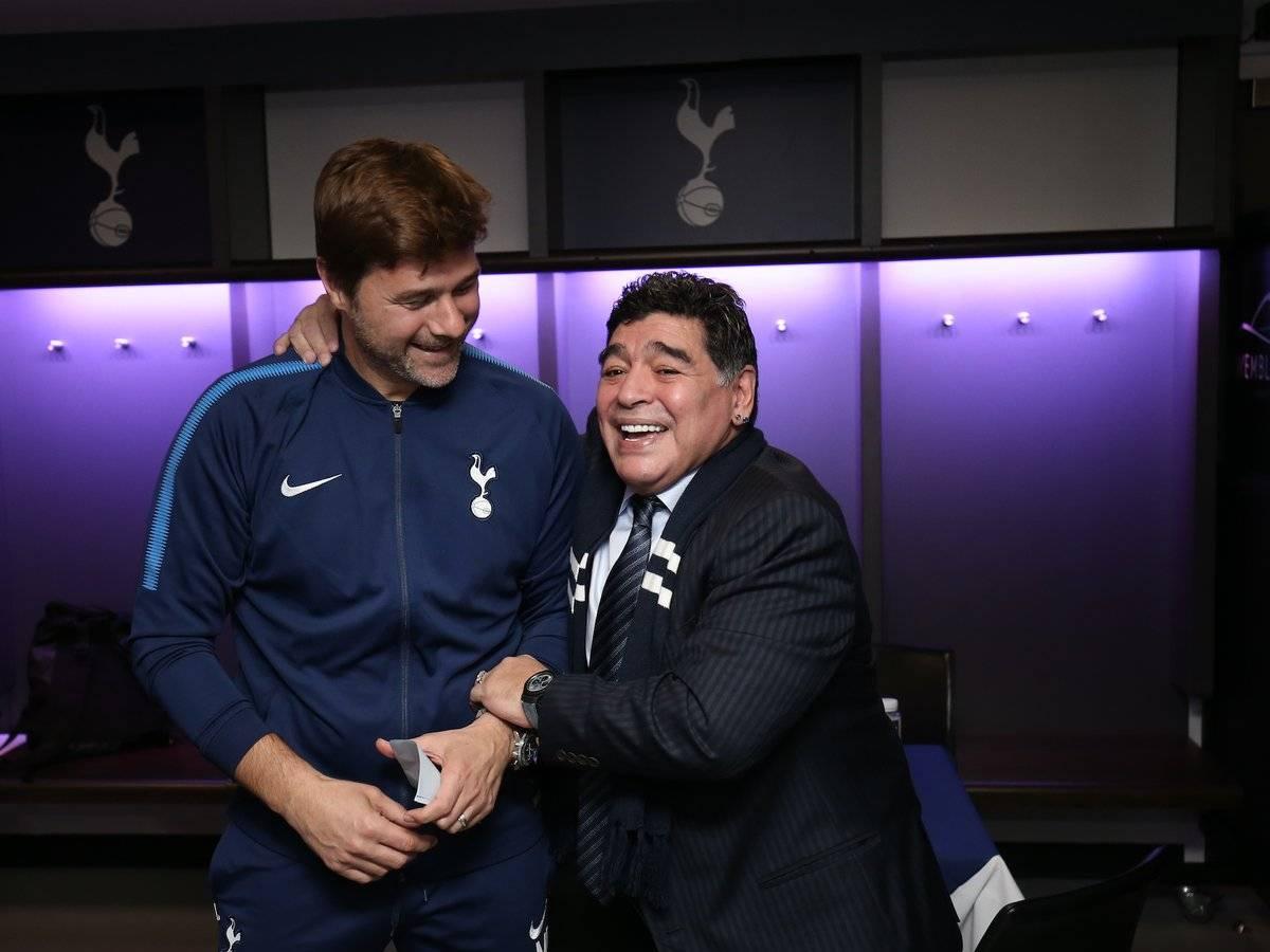 Mauricio Pochettino with Diego Maradona
