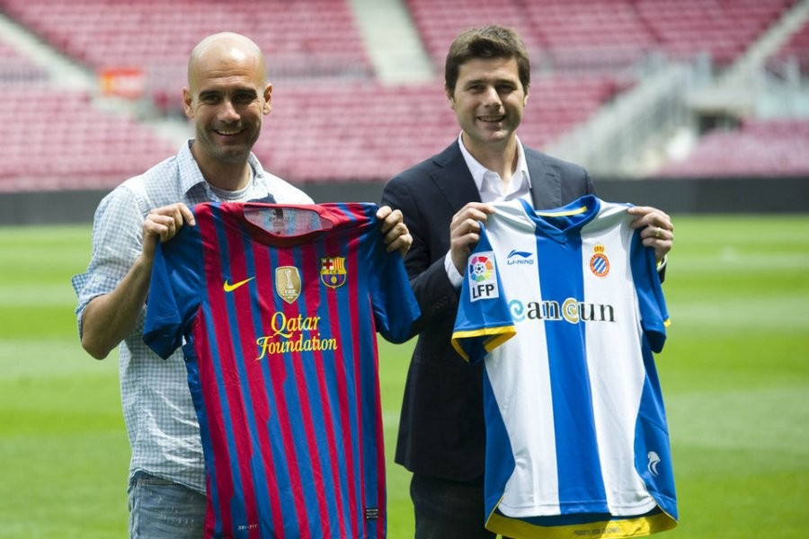 Pochettino with Guardiola at Espanyol and Barcelona respectively