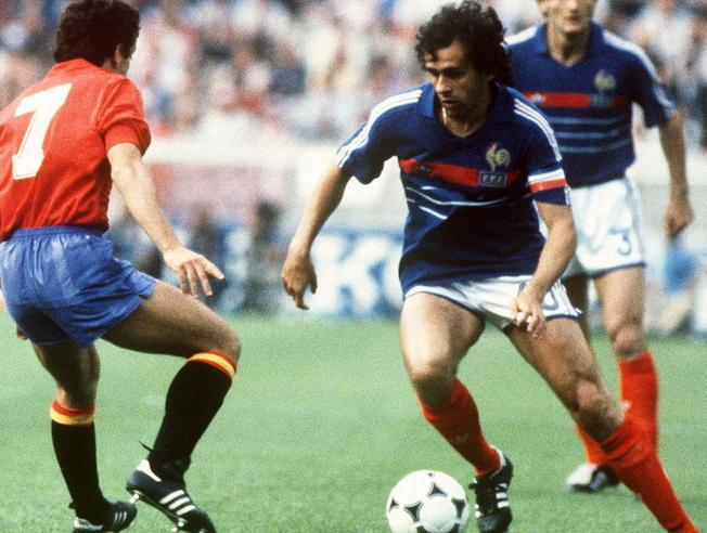 Michel Platini in action against Spain in the 1984 final
