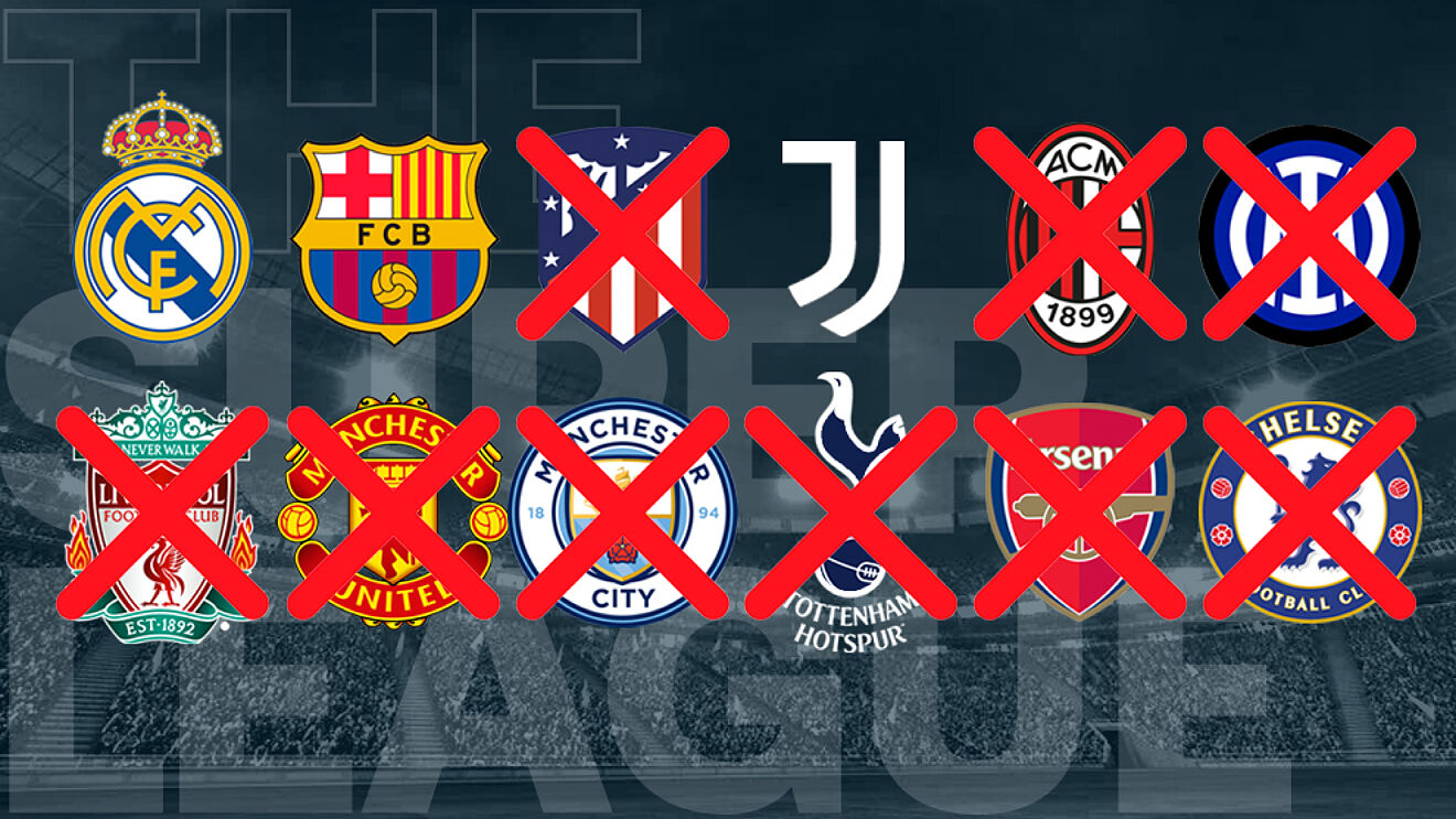 Nine out of twelve founding members withdraw from the Super League. Real Madrid, Barcelona and Juventus remain.