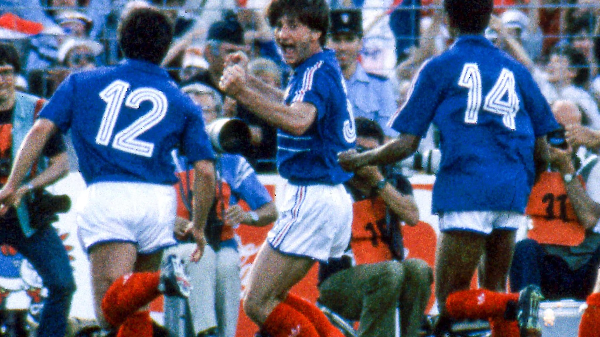 French players celebrate Domergue's equaliser.