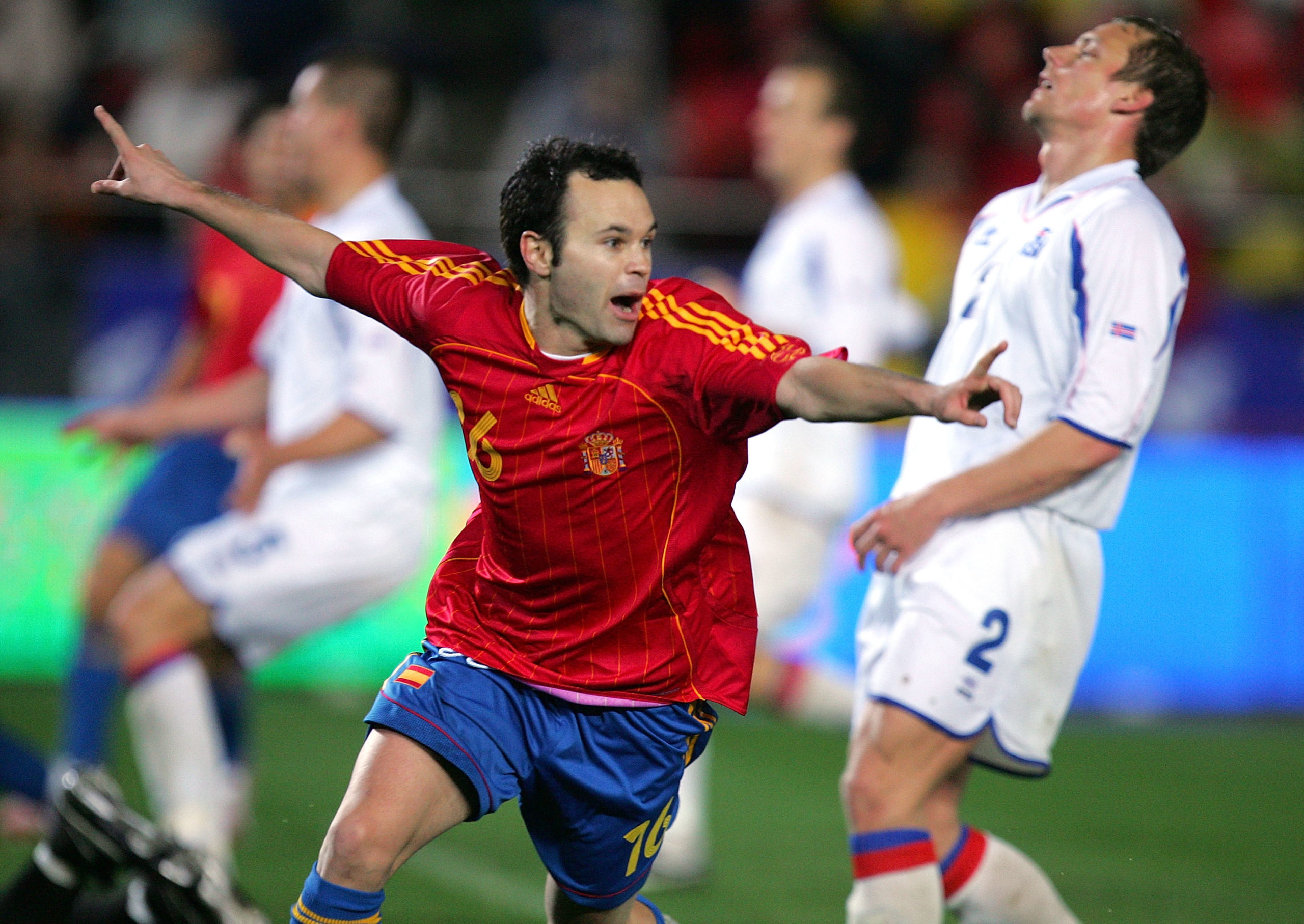 Andres Iniesta celebrating his goal at the 2008 Euros