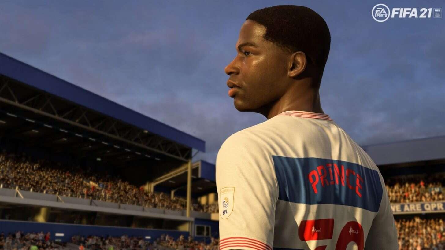 A snapshot of Kiyan Prince from the FIFA 21 game