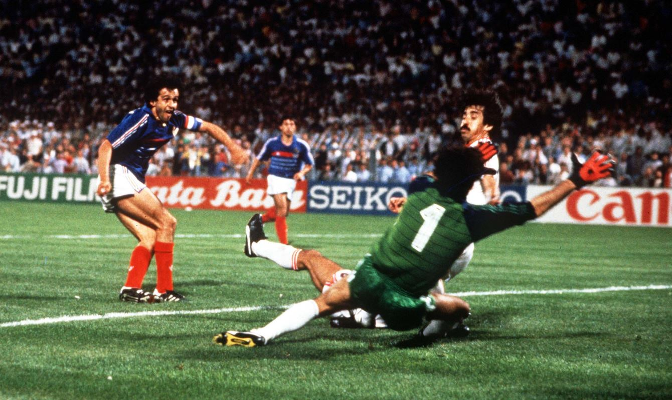 Michel Platini scoring the winning goal in the 119th minute