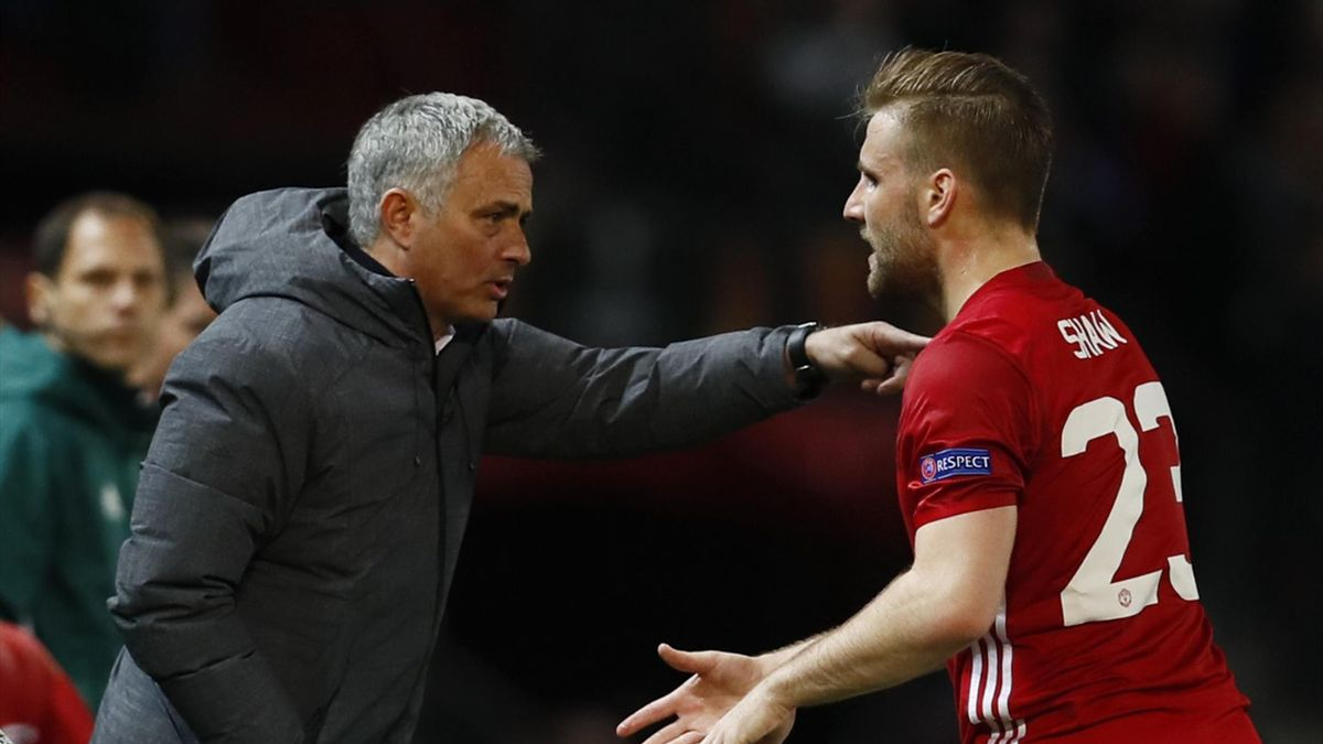 Luke Shaw arguing with Jose Mourinho on the touchline