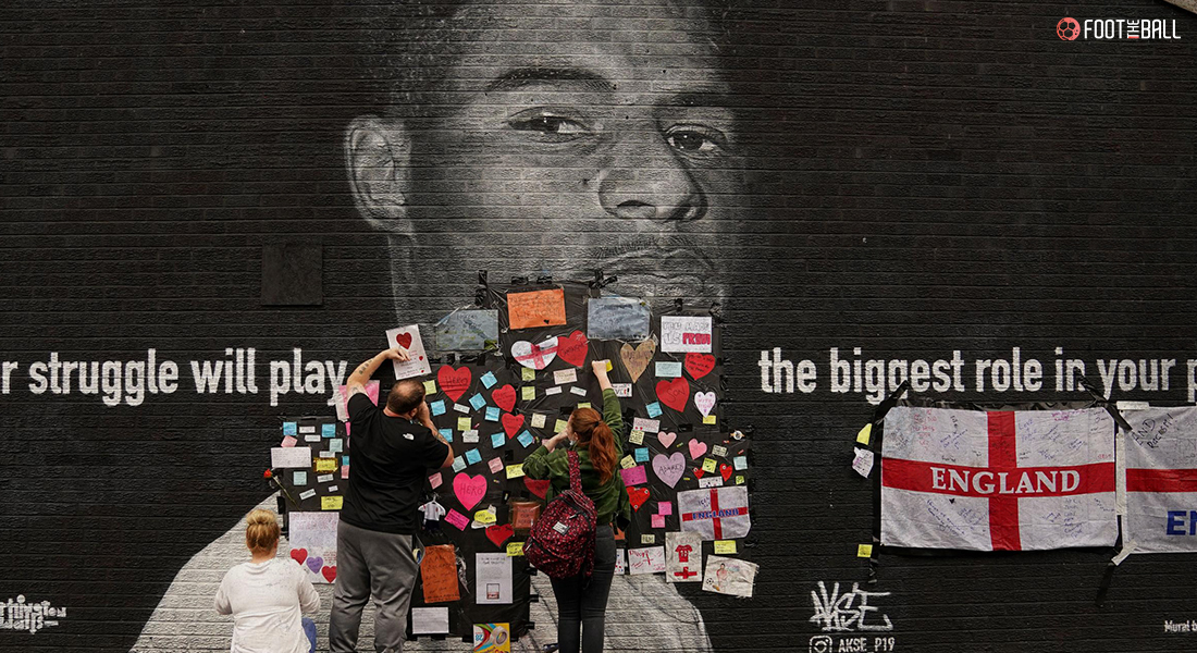 Mural of Marcus Rashford covered with letters and wishes